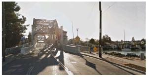 Crossing the High Street bridge into Alameda
