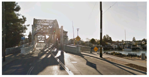 Crossing the High Street bridge into Alameda