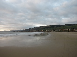 A deserted Pismo Beach sheltered from view by the dunes