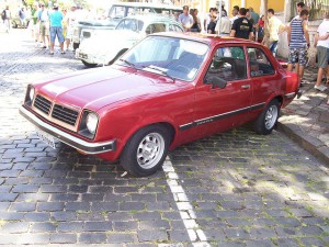Jan's 76 Chevette - No back seat but a provision for business - car seat and basinette