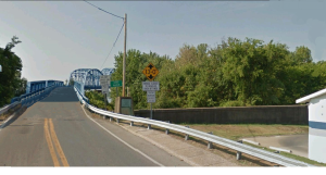 The narrower State Highway Bridge across the Ohio River at Paducah Kentucky