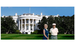 Sandra and Dad in front of the White House