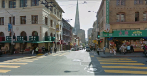 The Transamerica Pyramid Building seen from China Town